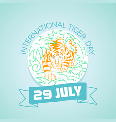 29 july international tiger day vector