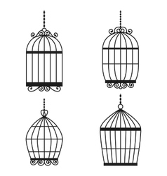 Silhouette birdcages collection set vector image