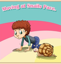 Man crawling beside snail vector