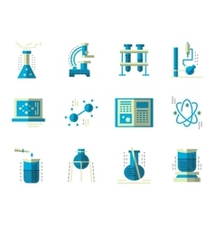 Flat simple icons for science chemistry vector