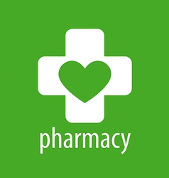 Logo heart and cross for pharmacy vector