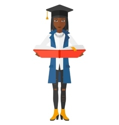 Woman in graduation cap holding book vector