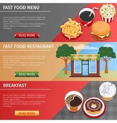 Colorful fast food banners set vector