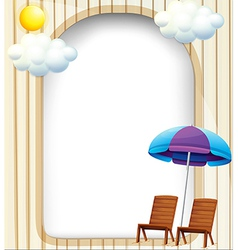 An empty entrance template with a beach umbrella vector image
