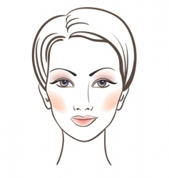 beauty women face with makeup vector image