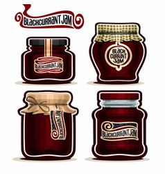 Blackcurrant jam in glass jars vector