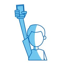 Boy holding smartphone in hand blue line vector