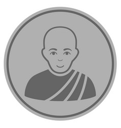 buddhist monk silver coin vector image vector image