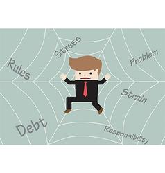 Businessman stuck on spider web vector