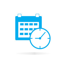 Calendar and clock icon on white background vector