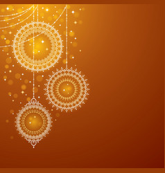 Christmas ornaments on golden background vector image vector image