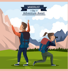 Colorful poster of wanderlust the adventure await vector