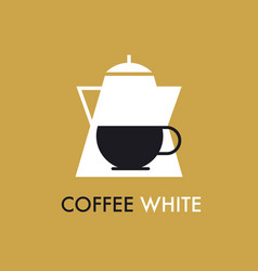 concept flat coffee pot and cap icon vector image vector image