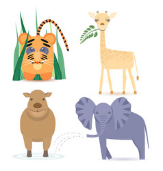 Cute africa animals vector