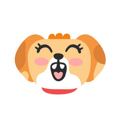 cute smiling dog head funny cartoon animal vector image vector image