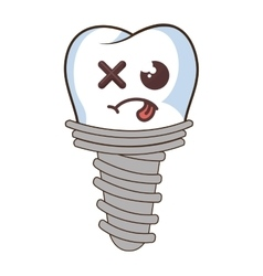 Dental implant funny character kawaii style vector