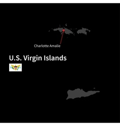 Detailed map of us virgin islands and capital vector