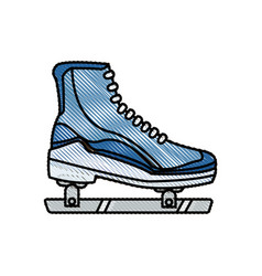 Drawing ice roller skate sport image vector