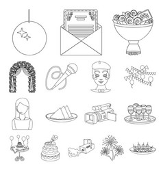 Event organisation outline icons in set collection vector