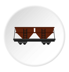 Freight railroad car icon circle vector