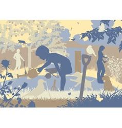Gardening family vector image vector image