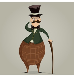 Gentleman with monocle and stick vector