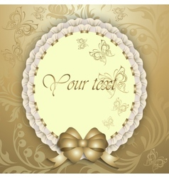 Gift card with silk ribbon place for text vector