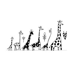 giraffes family sketch for your design vector image vector image