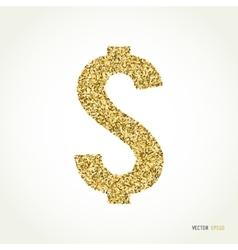 Gold glitter dollar sign on white background vector