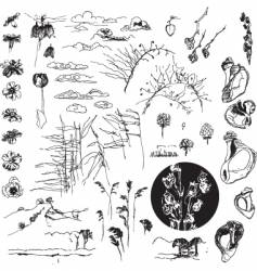ink sketch collection vector image vector image