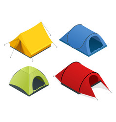 Isometric icon set of tourist tents flat 3d vector