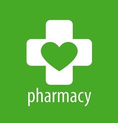Logo heart and cross for pharmacy vector