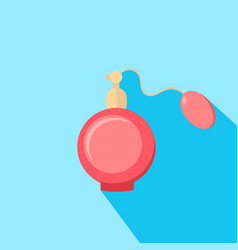 Lovely pink perfume bottle spraying fresh natural vector