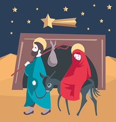 Mary and Joseph flee to Egypt Nativity Jesus vector image