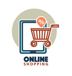Online shopping web icon template tablet vector