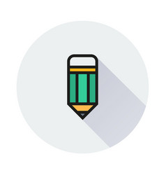 Pencil icon on round background vector