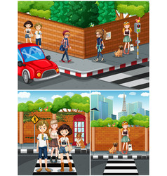 people hanging out on the street vector image