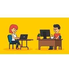 People Work in Office Design Flat vector image vector image