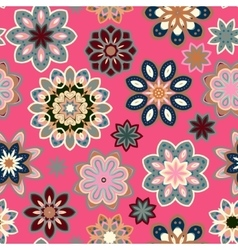 Seamless flower retro pattern in Blue gray vector image