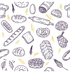 Seamless pattern with bread and wheat hand drawn vector