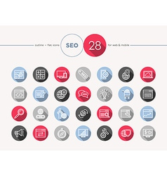 Seo web flat icons outline style set vector image