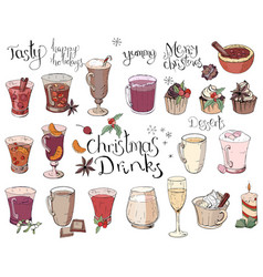 set of different christmas and winter drinks vector image vector image