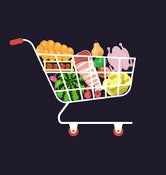 shopping cart food vector image
