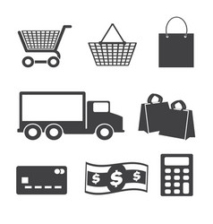 Shopping icons set sale vector