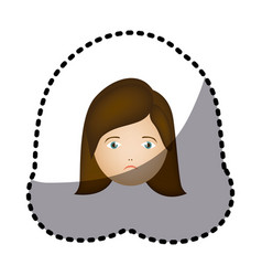 sticker colorful cartoon human female sad face vector image vector image