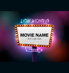 Theater sign and neon light vector