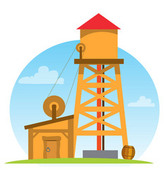 water tower vintage structures design gaming vector image vector image