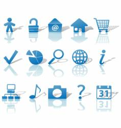 web blue icons set vector image vector image