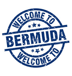 Welcome to bermuda blue stamp vector