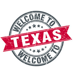 Welcome to texas red round vintage stamp vector